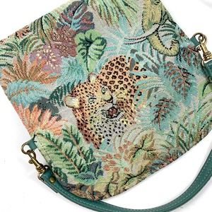 1980's leopard jungle animal woven tapestry purse
